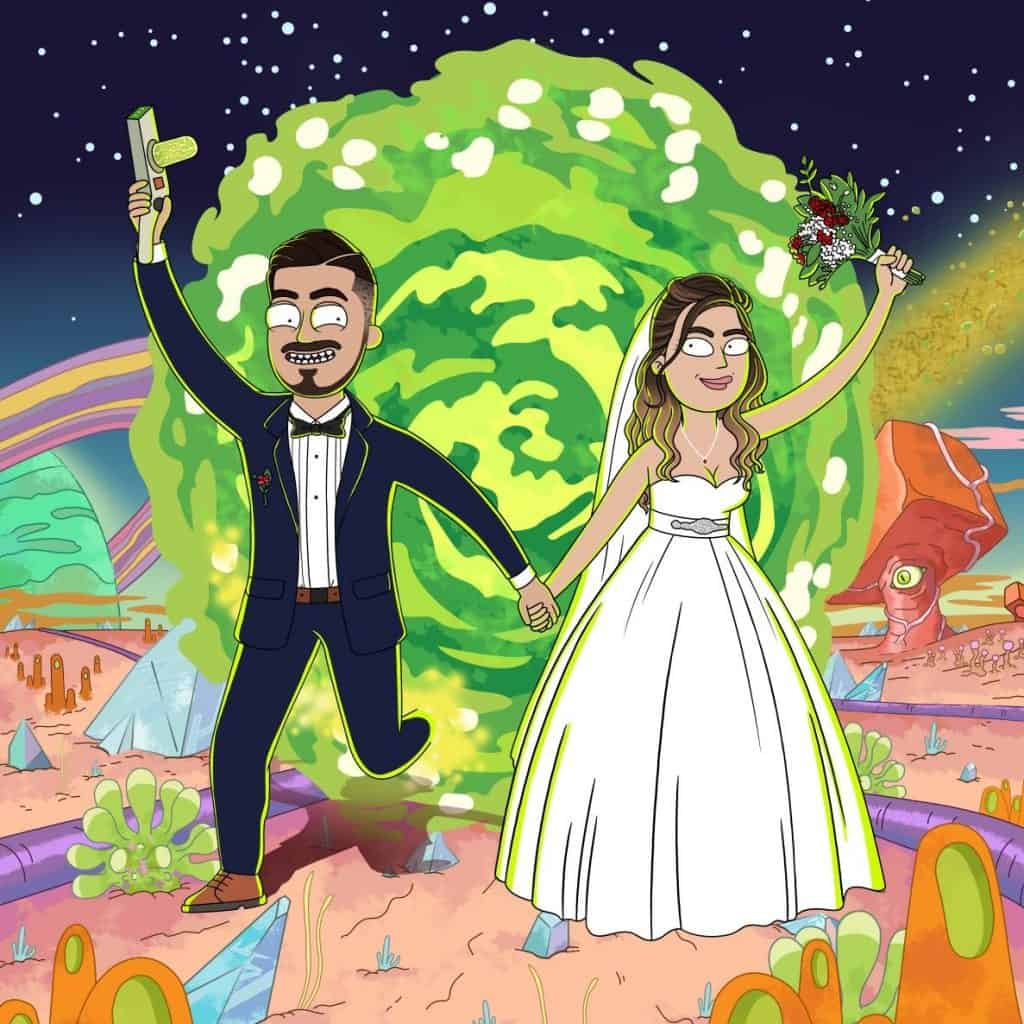 Rick and morty portrait drawing. Wedding couple coming out of portal.